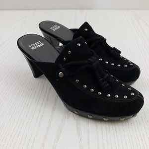 Stuart Weitzman Mule Clog Heel Black Suede Leather